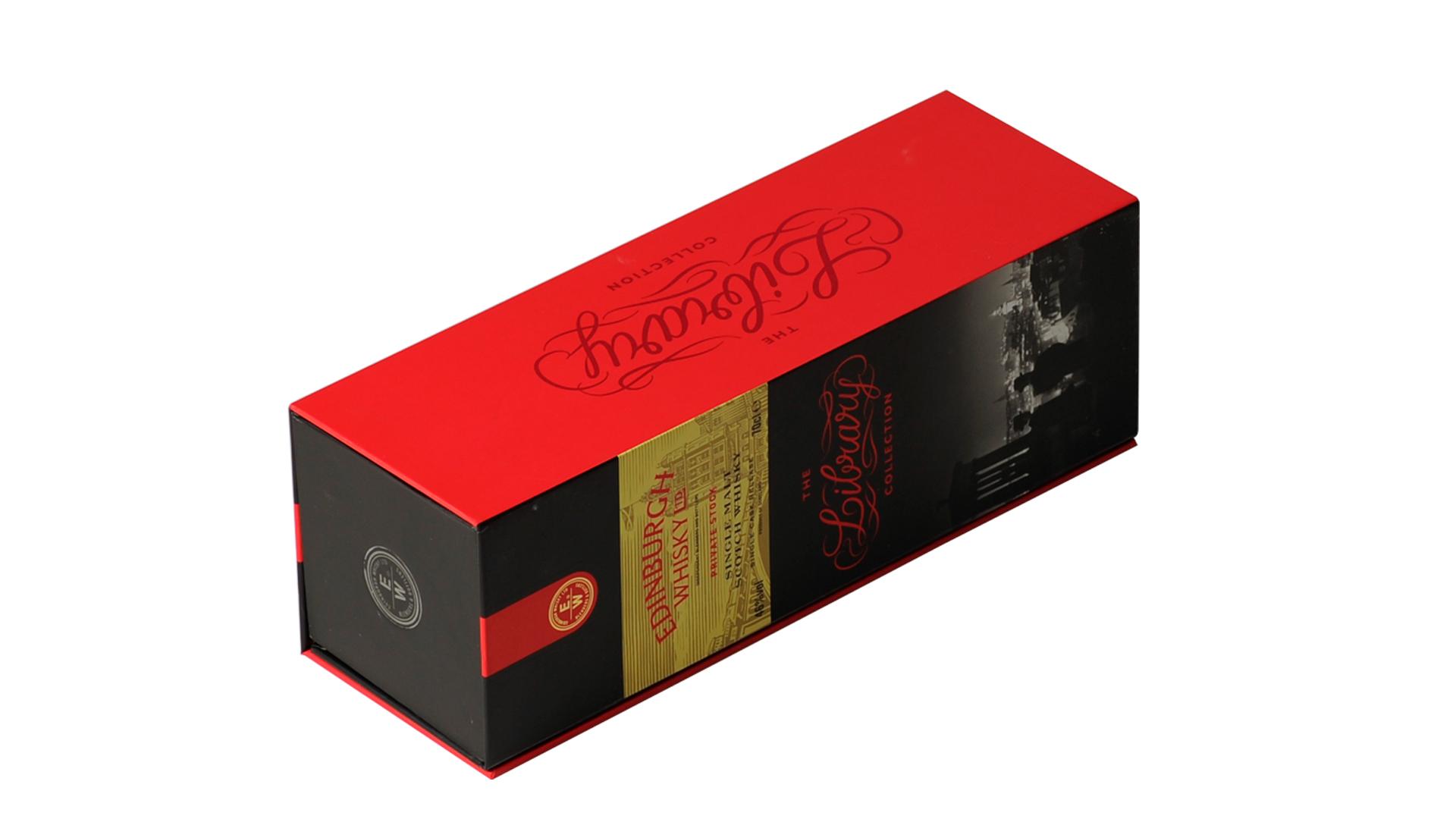 Haut de gamme Fait Main Feuille D'or Estampillé Mat Papier sublimation Carton à vin Whisky Coffret cadeau Boîtes boîte de cadeau de vin