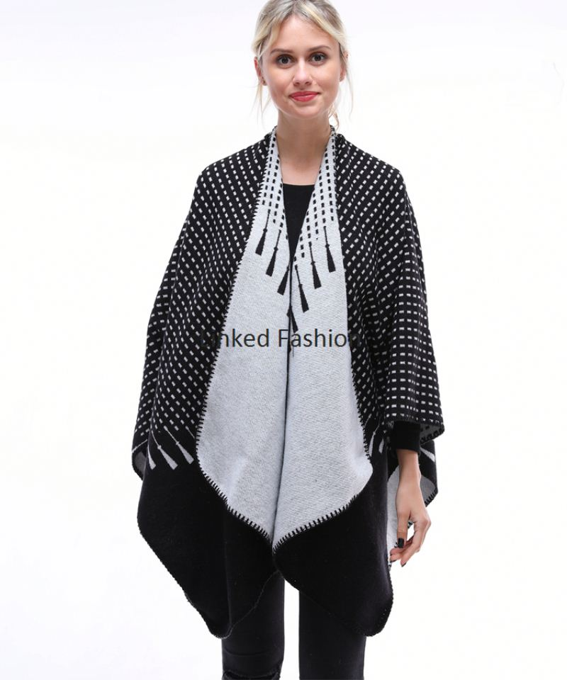 Women Winter Knitted <strong>Faux</strong> Cashmere Poncho Capes Plus Size Shawl Cardigans Sweater Coat