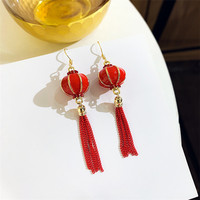 Vintage national style red Chinese knot tassel earrings temperament wild long earrings