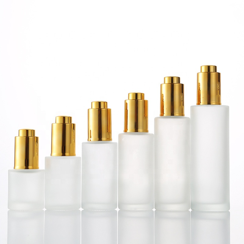 Factory custom 100ml 50ml 30ml 20ml 15ml 10ml 5ml 3ml gold serum ätherisches öl glasflasche mit pipette mit weiß kappe