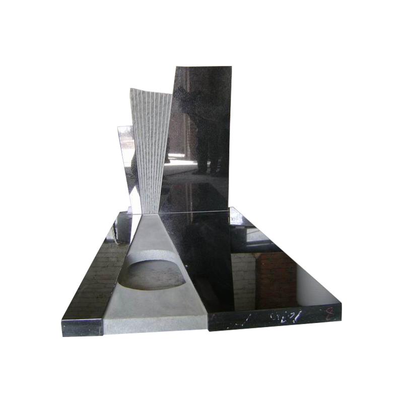 Zwart Graniet Kruis Grafsteen Voor Monument, Grijs Modern Grafsteen Ontwerpen +