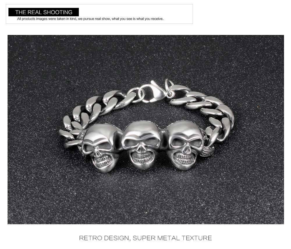 Selling Fashionable Stainless Steel Jewelry Charm Three Skull Men Bracelet