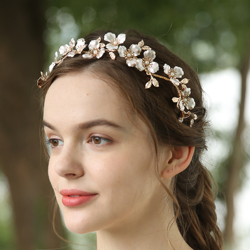 Customize Luxury Crystal Bridal Head Accessories Copper Flower Bride Headpiece