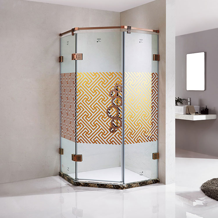 Polished Aluminium Alloy Frame Diamond Hinge Frameless Shower Door