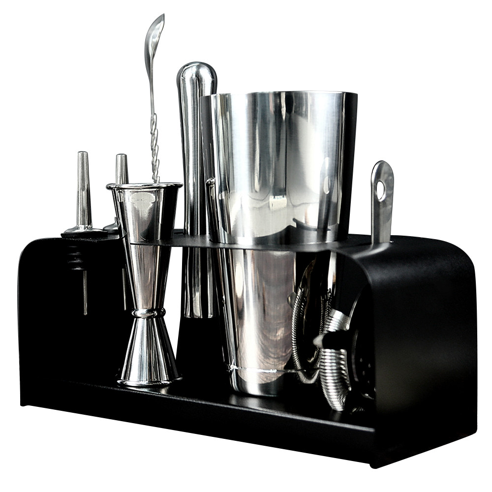 Wholesale 8 piece  Stainless Steel Boston Cocktail Shaker Set With Stand