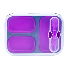BPA FREI 3 Fächer Faltbare <span class=keywords><strong>mikrowelle</strong></span> sicher Bento Silikon Container Kinder Erwachsene folding Lunch Box mit teiler