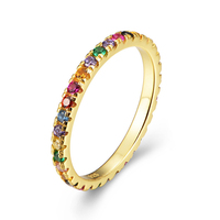 Multi Color Stone Rainbow Ring Jewellery 925 Sterling Silver Rainbow Band Ring
