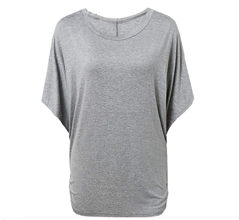 Fashion round neck batwing short sleeve loose long T-shirt 2020 casual women modal tops
