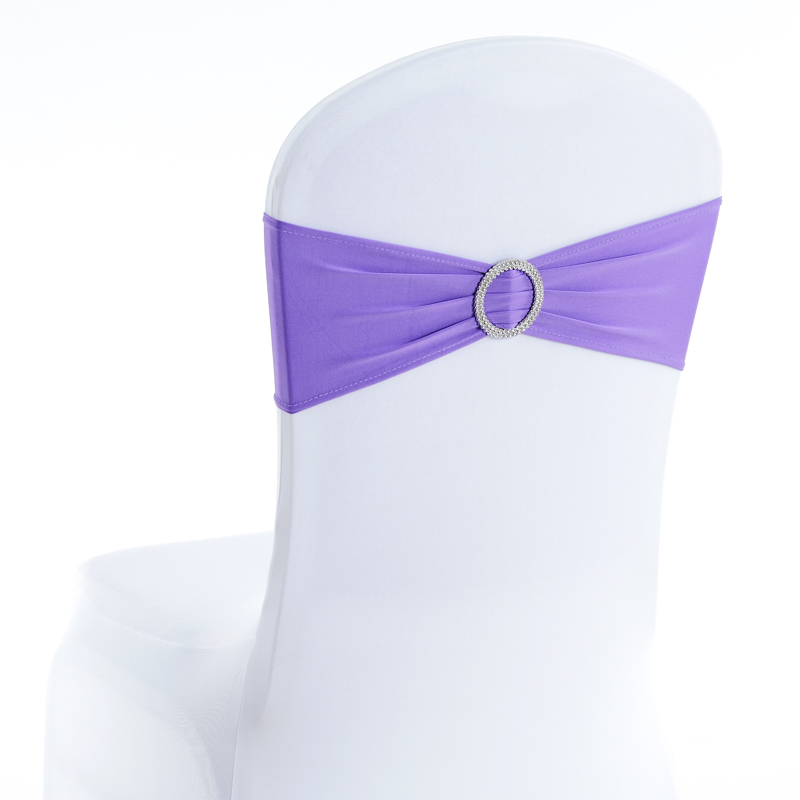 Factory Price Bow Purple Spandex Polyester Chair Sashes Wedding Ornament Wedding Decoration