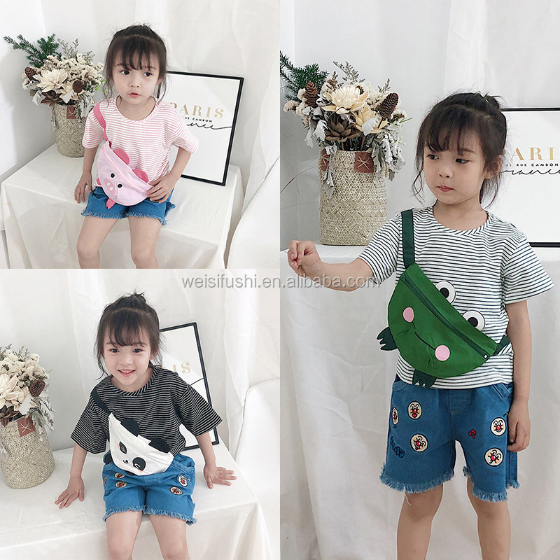 2020 custom made latest fashion t shirt, little girls short sleeve cute animal bag embroidery t-shirts