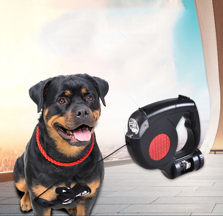 Wholesale Portable Nylon Automatic Retractable  LED Dog Leash  with Poop Bag Dispenser