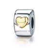 Heart Clip Charm 925 Sterling Silver Lock Spacer Stopper Bead Charm for Bracelet