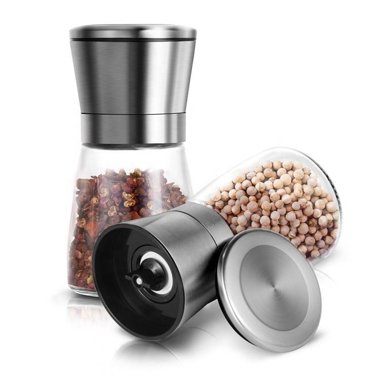 Food Grade ABS PP Glass Salt Pepper Grinder Bottle Set