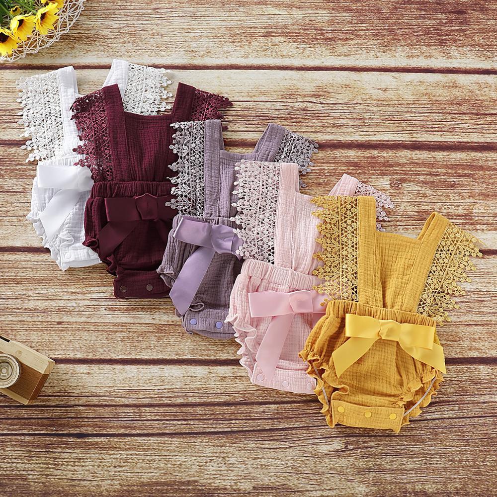 เด็กทารกใหม่เสื้อผ้าฤดูร้อนสีทึบลูกไม้ bodysuits ทารกเสื้อผ้าน่ารักสลิง