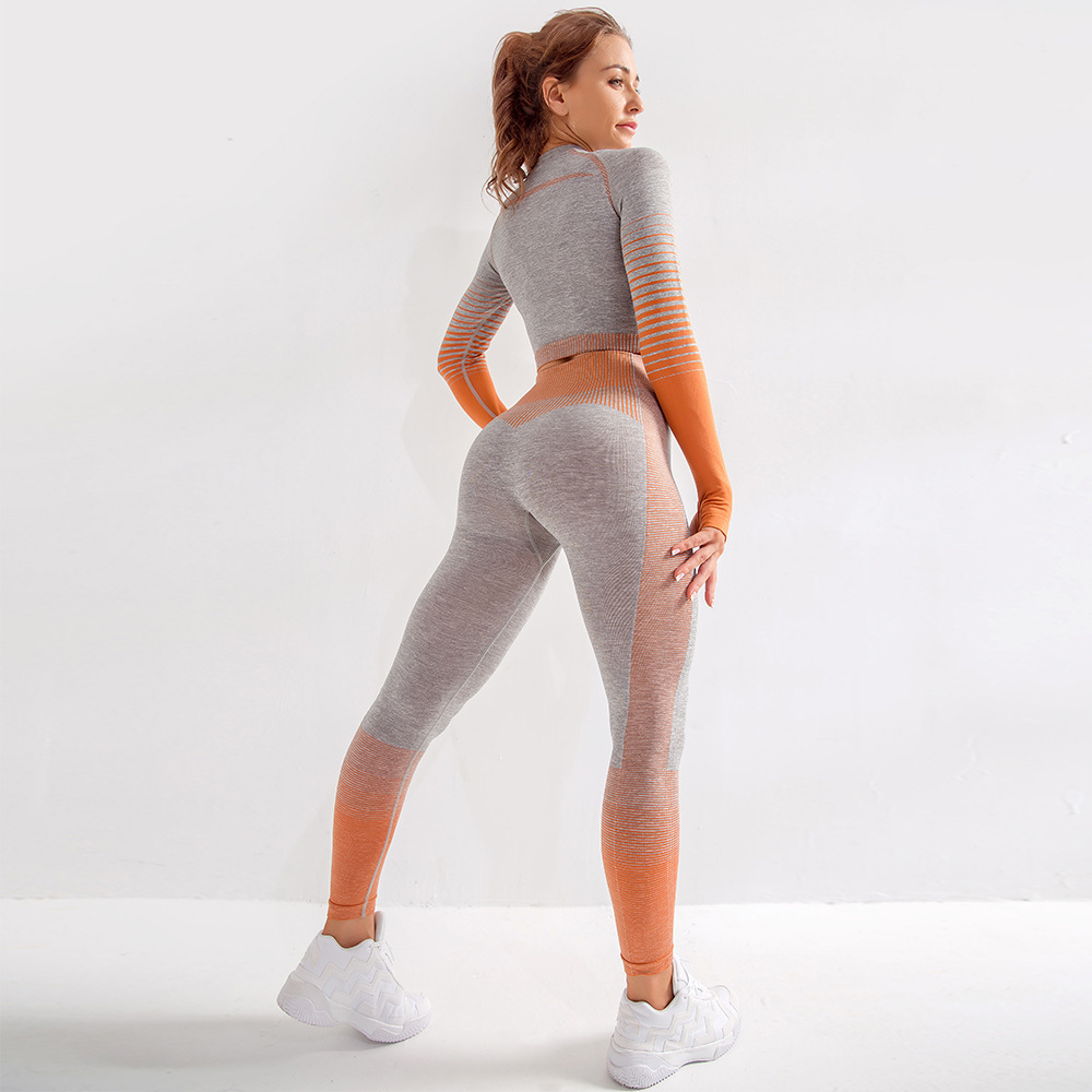 Toplook Seamless Yoga Wear 2 Piece Sets Womens Suit Gym Clothing Gradient Long Sleeve S431