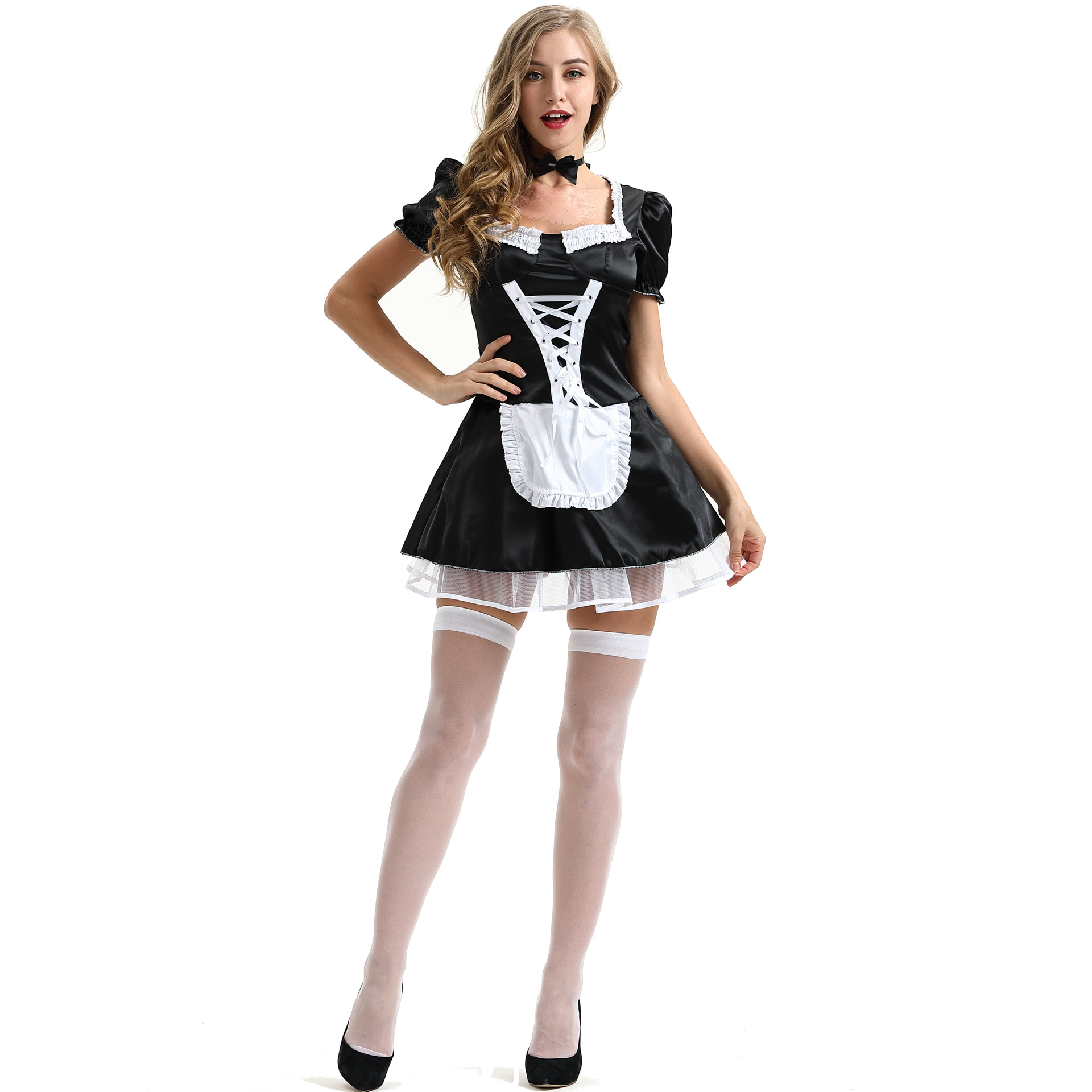 Hot sexy french maid costume fancy dress open cup party naughty outfit nightwear