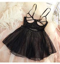 Черное сексуальное женское белье, ночная рубашка из тюля с кружевом и v-образным вырезом, ночная рубашка, ночная рубашка, домашняя одежда(Китай)