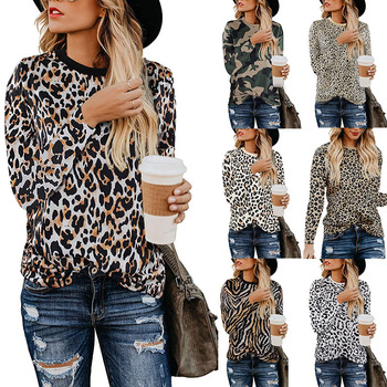 Tops Casual Ladies Long Sleeves unique Loose Fashion Woman Blouse Fashion lady shirt with Leopard