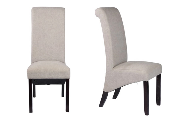 2019 new design modern Upholstered Linen Fabric and Wooden with copper nail  and sponge seat Dining Chairs