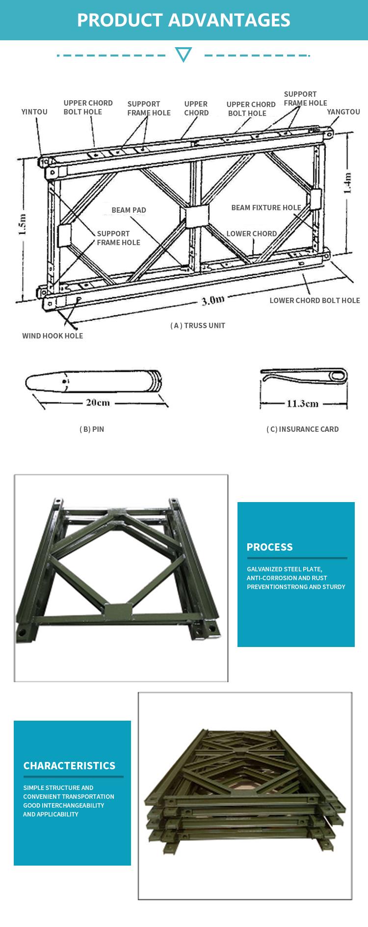 การออกแบบที่กำหนดเองโครงสร้างเหล็กใช้สะพานเบลีย์คู่มือ