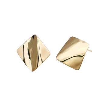 Fashion Diamond Shape 14K Solid Gold Earring. Wholesale High Polished Matte Finished 14K Real Gold Earrings Women Jewelry