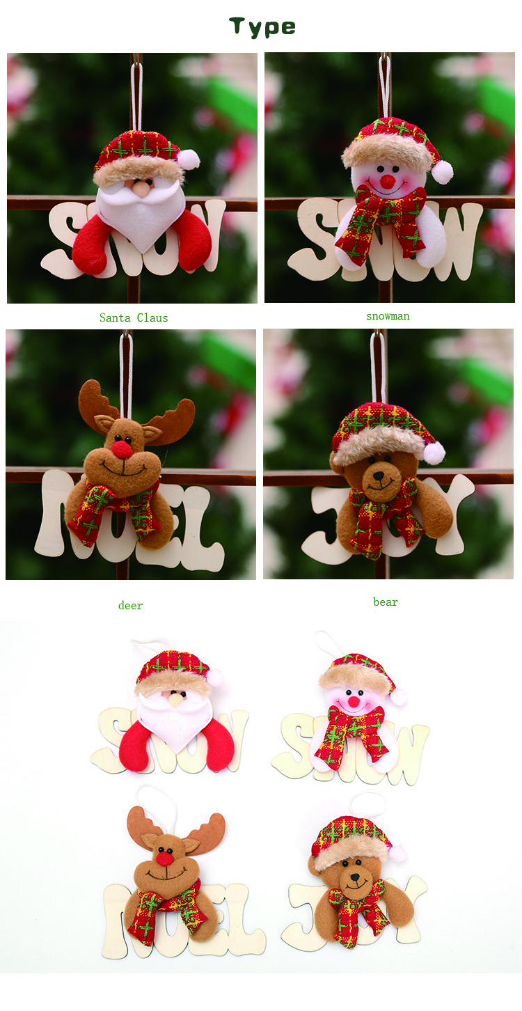 Creative wooden letter card Santa Claus snowman deer bear christmas ornament pendant