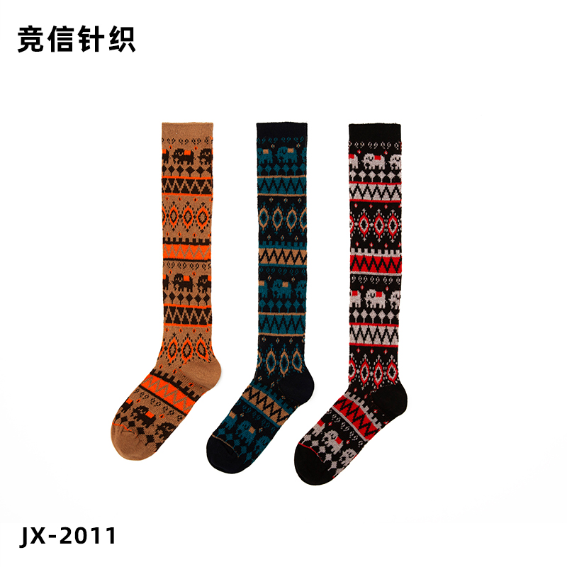 Custom Sale JX-2011 Double needle three colors  front and back can be worn socks