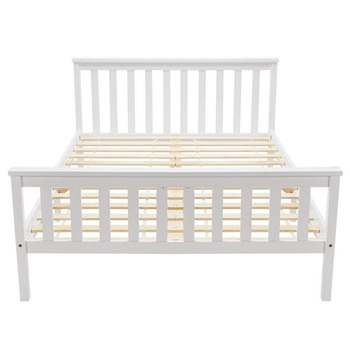 White solid pine wood Double Bed Wooden Frame for kids