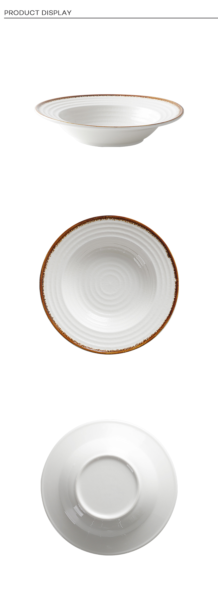 Wholesale Chaozhou Heat Resistant Restaurant Salad Plate,  Catering Serving Soup Dishes, Ceramic Spaghetti Plate&
