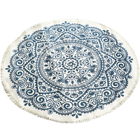 Cotton and linen round carpet retro hanging basket floor mat multifunctional blanket