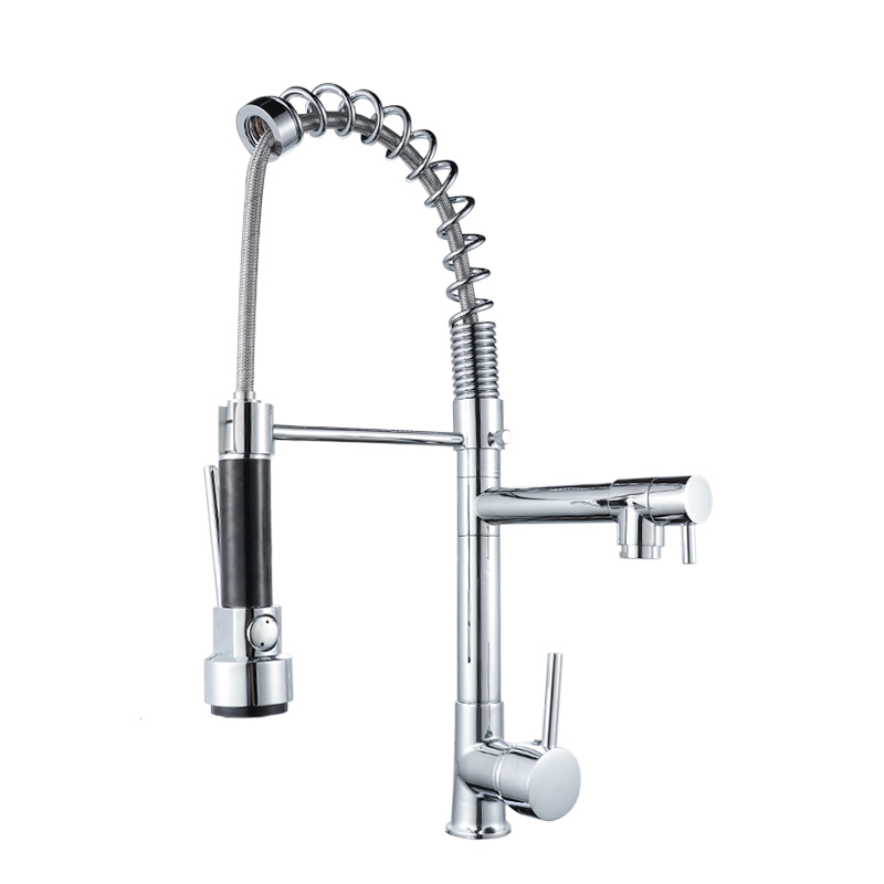 High quality pull Down <strong>Spring</strong> Loaded Modern Home &amp; Hotel <strong>Kitchen</strong> Long Neck Water <strong>Faucet</strong>
