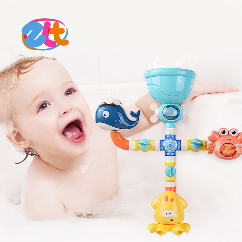 Sea animal water spray toy baby water pipes bath toy for kids