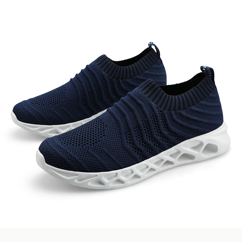 Big Size Antiskid Sole Blue Black White Breathable Light Weight Fly Knit Slip on Loafers Men Casual Shoes