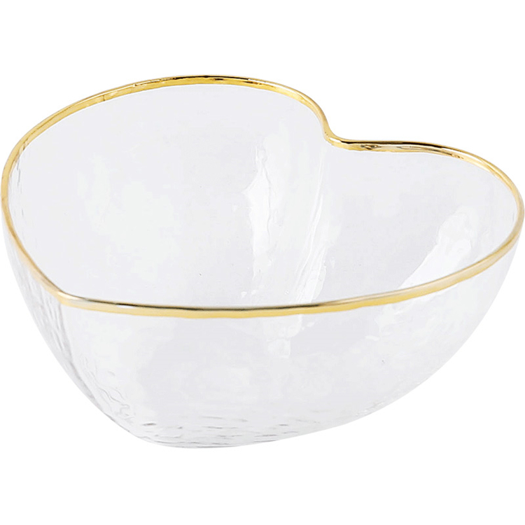 Home goods various sizes heart shaped fruit salad glass serving bowls with gold rimmed