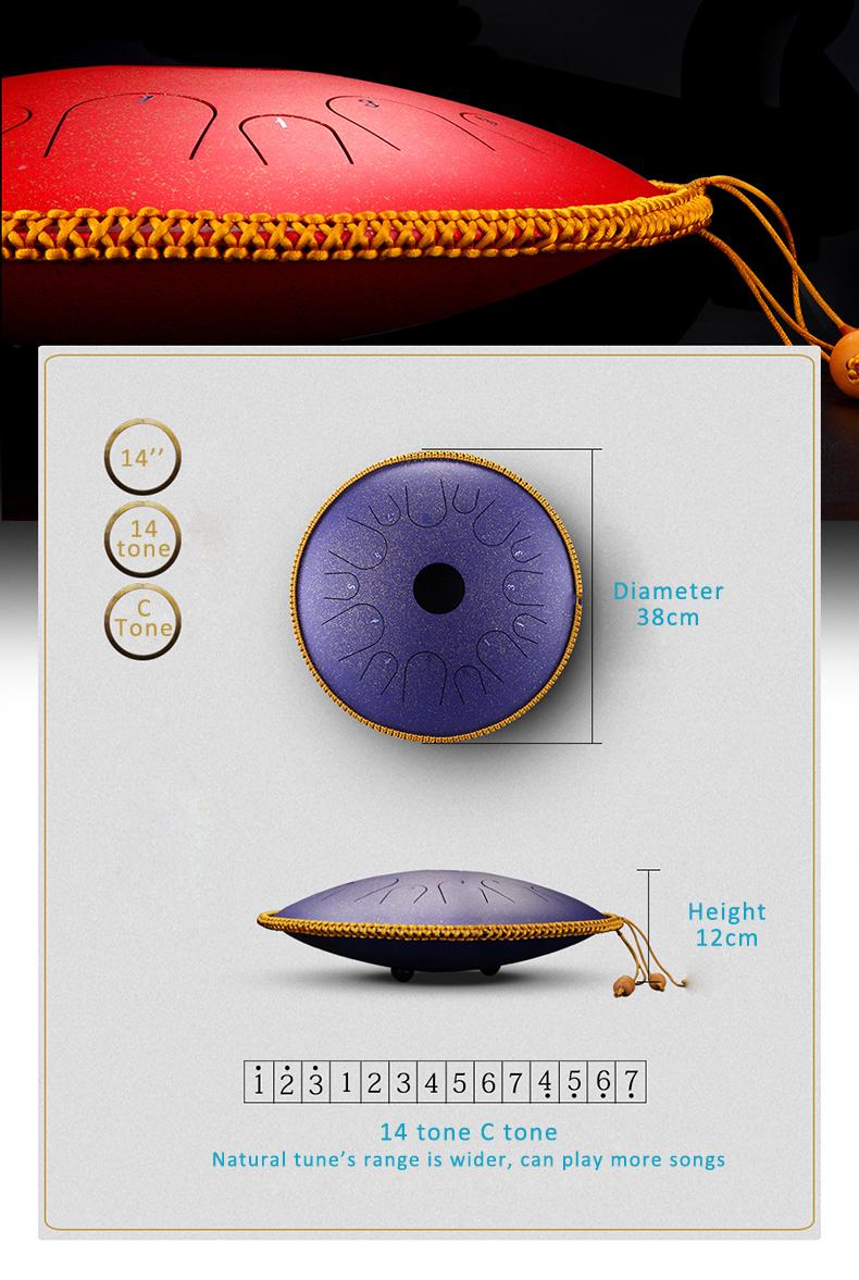Neue design 14 zoll chakra trommel handpan sound therapie chakra stahl zunge trommel
