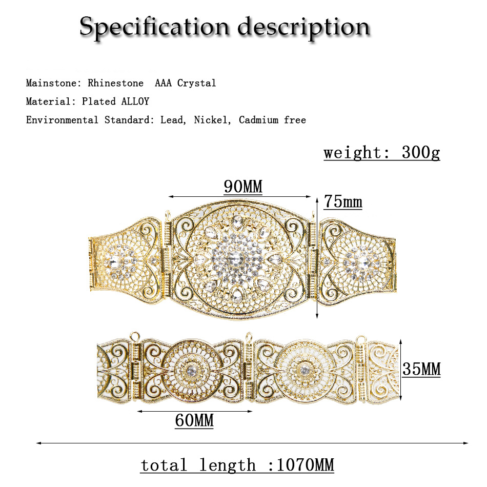 Classical Gold Color Round Metal Belt Long Waist Chain Waistband Wedding Resin Jewelry For Women Hollow Flower Bijoux
