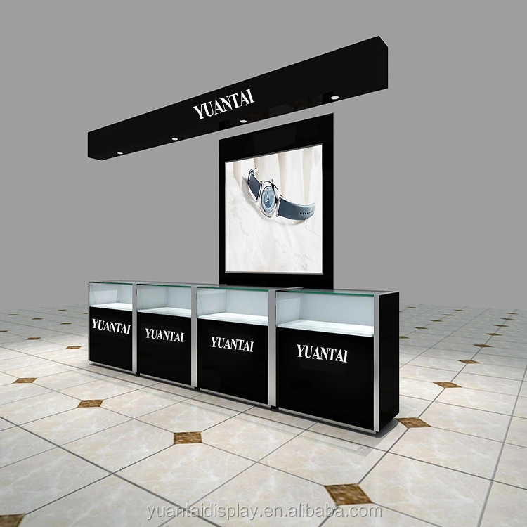 High quality glass cabinet showcase with led lights for jewelry shop display kiosk
