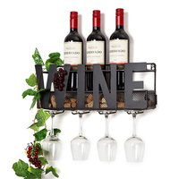 Black Metal Wall Mounted Wine Rack