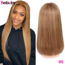 Bestsojoy коричневый цвет человеческие волосы парики прямые 13X4 Выделите цвет #2 #4 #6 Омбре синтетические волосы парики средний коэффициент remy вол...(Китай)