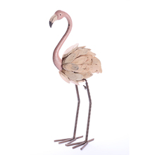 "Familia Flamingo patio adornos 15,5 ""rosa brillante de Metal arte Flamingos con deriva madera para jardín/Patio Decoración"