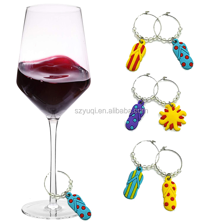 New Designed Summer Beach Wine Glass Charms for Making Your Drink Unique