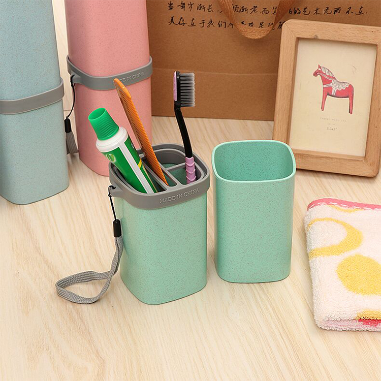 Hot Sale Customized Portable Square Type Travel Storage Tooth Brush Toothpaste Wash Cup Set With String
