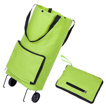 Custom Foldable Portable Shopping Bag With Wheels Shopping Cart Trolley Bag