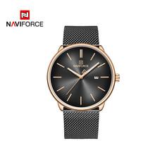 Бренд NAVIFORCE, роскошные женские и мужские наручные часы, водонепроницаемые мужские часы из натуральной кожи, модные кварцевые часы для мужчи...(Китай)