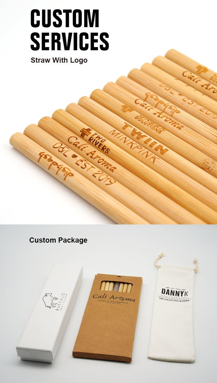 Natural reusable ecofriendly custom logo drinking bamboo straws with best quality