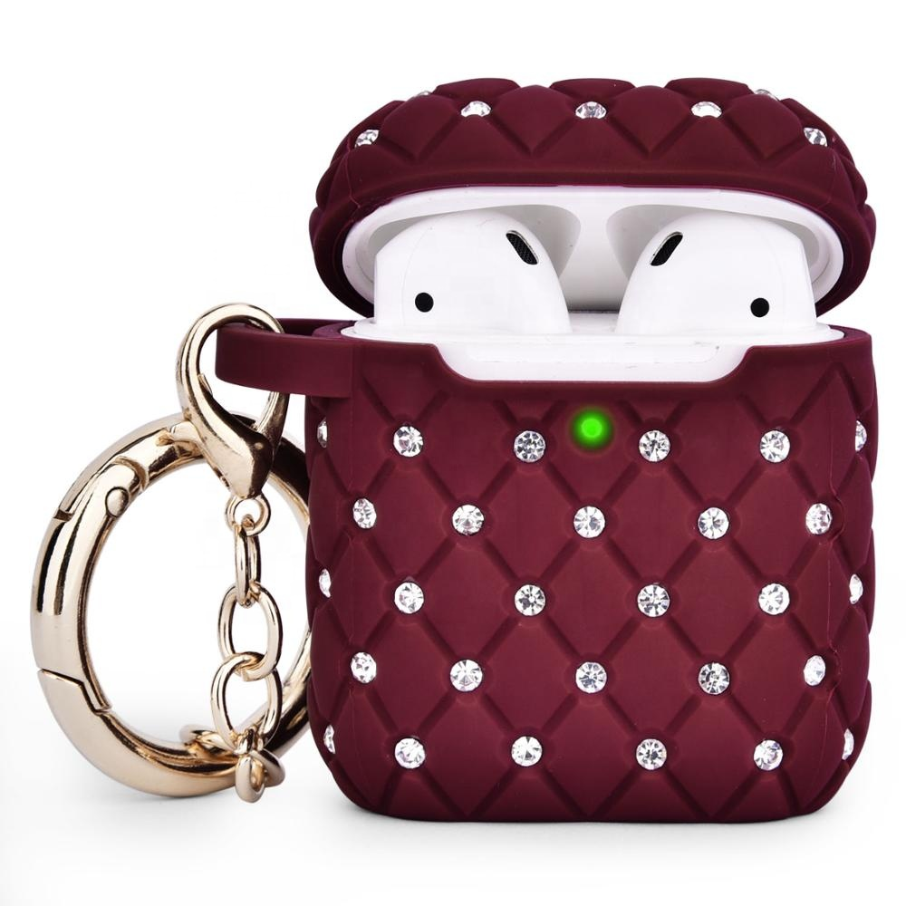 New Design Luxury TPU Case with Metal Ring Diamonds Skin Cover for AirPod 2/1