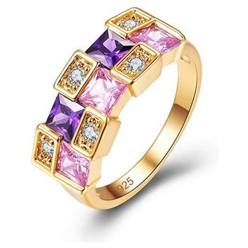 Cubic Zirconia Ring Rhinestone Gold Plated Wedding Jewellery