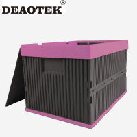 Folding Plastic Stackable Boxes Collapsible Bins Storage Containers with cover