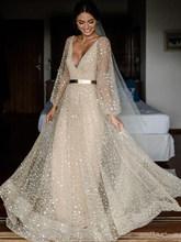 Лори 2020 Кружева Свадебные платья v-образным вырезом с длинным рукавом открытой спиной свадебное платье размера плюс Бохо свадебное пляжное ...(Китай)