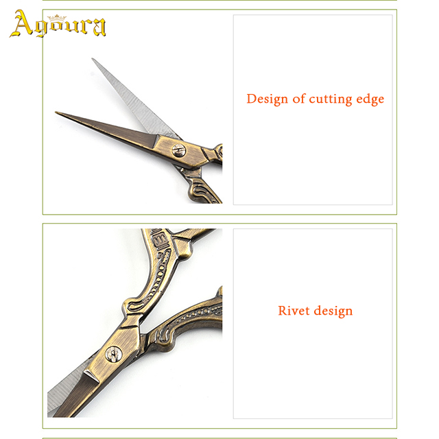 High quality stainless steel embossed embroidery scissors craft vintage beauty scissors